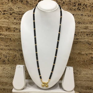 Traditional Gold Plated Double Vati Pendant Black Gold Beads Multilayer Long Mangalsutra