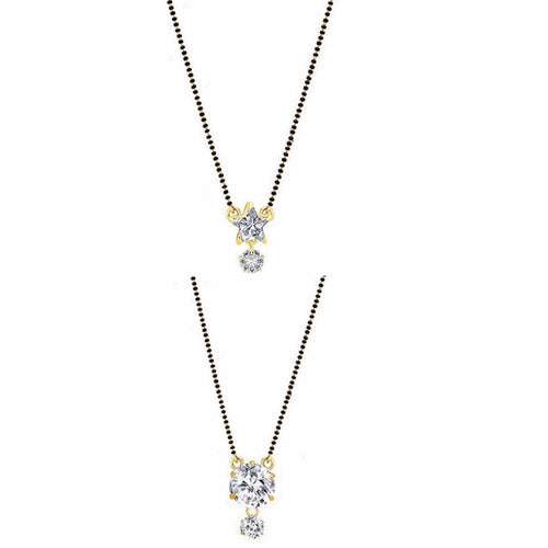 Digital Dress Room Short Mangalsutra Designs Gold Plated Latest American Diamond Star & Round Pendant Combo Mangalsutra