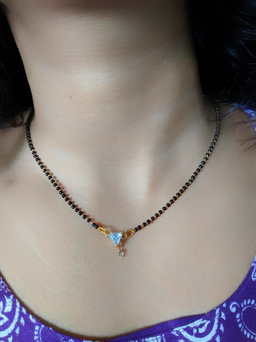 Digital Dress Room Short Mangalsutra Designs Gold Plated Latest American Diamond Triangle Pendant Mangalsutra