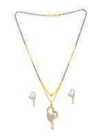 Digital Dress Room Digital Dress Room Diamond Gold Plated Short Mangalsutra set with Earrings मंगलसूत्र Latest Design/Cz Solitaire/Black Beads Chain Heart Love Shape Pendant New Mangalsutra Designs For Women (20 Inches)
