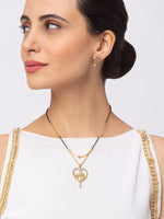 Digital Dress Room Digital Dress Room Diamond Gold Plated Short Mangalsutra set with Earrings मंगलसूत्र Latest Design/Cz Solitaire/Black Beads Chain Heart Love Pendant New Mangalsutra Designs For Women (21 Inches)