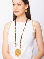 Digital Dress Room Digital Dress Room One Gram Gold Plated Maharashtrian Long Mangalsutra set with Earrings मंगलसूत्र Tanmaniya/Long Gold Chain/Black Beads Nataraja Pendant New Mangalsutra Designs For Women (43 Inches)