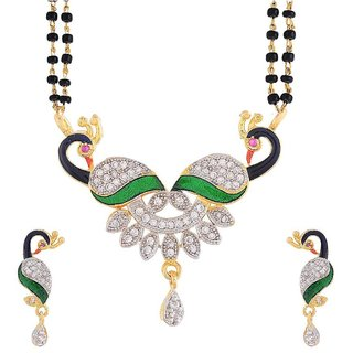 Traditional American Diamond Peacock Pendant Black Beads Double Layer Mangalsutra Set