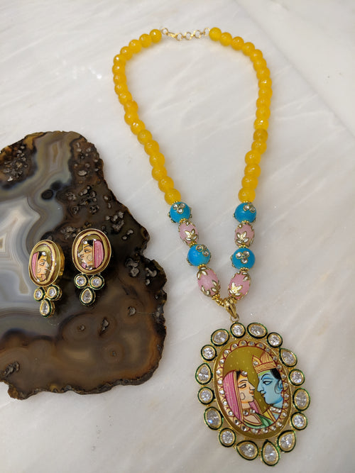 Digital Dress Room Radha Krishna Design Pendant Yellow Beads Necklace with Earrings