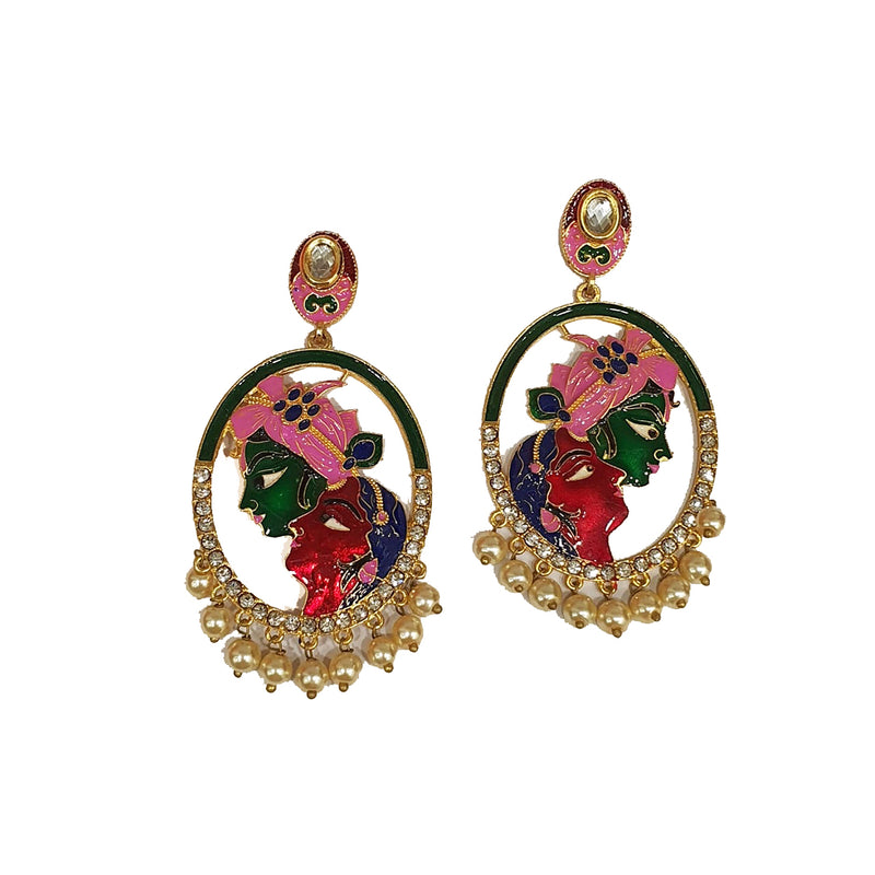 Gold Plated Earrings with Stylish Green Red Pink Radha Krishna Earring
