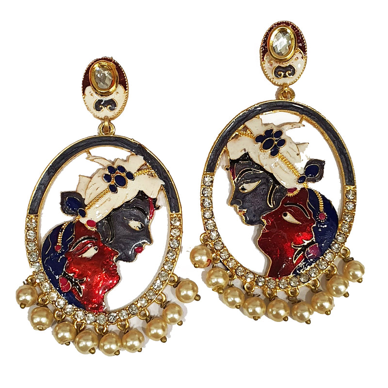 Gold Plated Earrings Stylish Multi Color Radha Krishna Kundan Studded Pearl Stone Meenakari Earrings - DigitalDressRoom