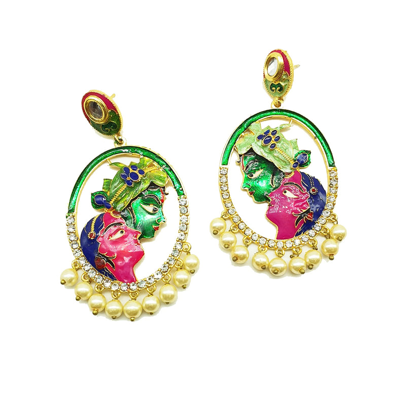 Gold Plated Earrings Stylish Multicolor Meenakari Work Radha Krishna Earrings - DigitalDressRoom