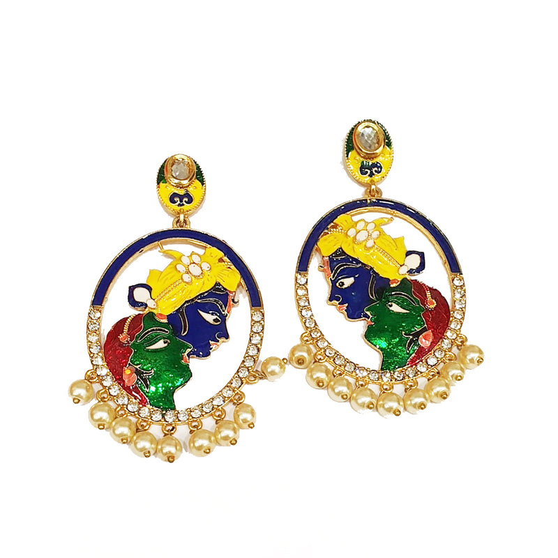 Gold Plated Earrings Stylish Yellow Green Navy Blue Radha Krishna Earring - DigitalDressRoom