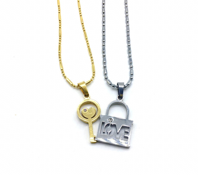 Valentine's Day For His And Her Necklaces Love Couples Accessories 2Pcs Chic Gold Silver Lock and Key Love Heart Pendant Puzzle Necklace - DigitalDressRoom