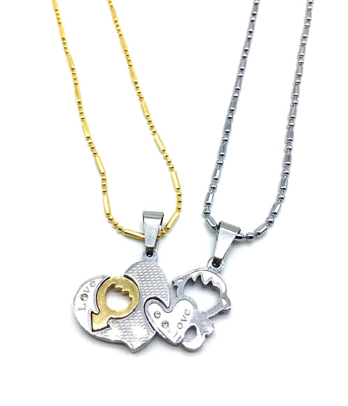 Digital Dress Room Valentine's Day For His And Her Necklaces Love Couples Accessories 2Pcs Chic Love Heart Mars Venus Gender Pendant Puzzle Necklace