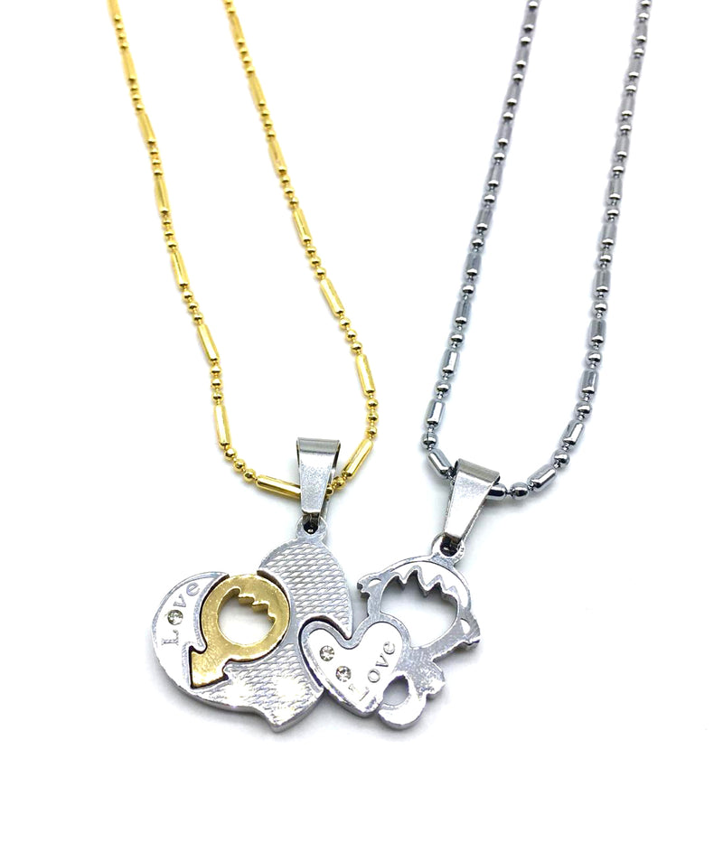 Valentine's Day For His And Her Necklaces Love Couples Accessories 2Pcs Chic Love Heart Mars Venus Gender Pendant Puzzle Necklace - DigitalDressRoom