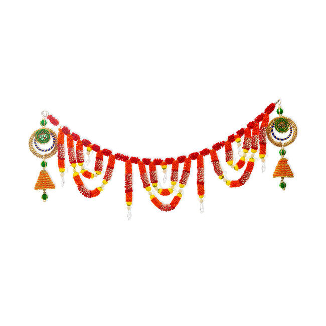 Digital Dress Room Toran For Door Hangings Diwali Decoration Artificial Flower Garlands (Red) Shubh Labh Latkans