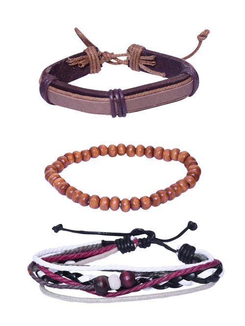 Digital Dress Room Fashion Genuine Leather Bracelet Brown white Red Wraps Casual Skin Friendly Bracelets for Men Boys Multi-strand Friendship Bracelets Cuff Casual Party Wear (Set of 3) Size 7.5 Inches