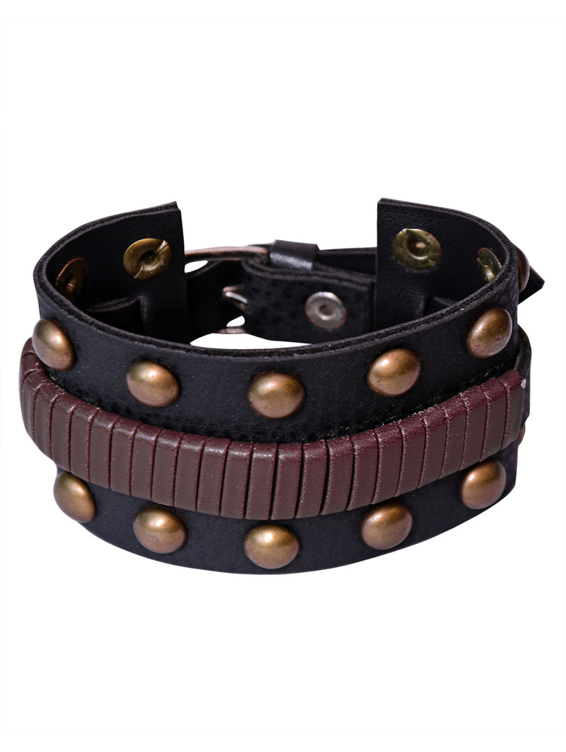 Digital Dress Room Digital Dress Room Fashion Genuine Leather Bracelet Black brown Wraps Casual Skin Friendly Bracelets for Men Boys Multi-strand Friendship Bracelets Cuff Casual Party Wear Size 7.5 Inches