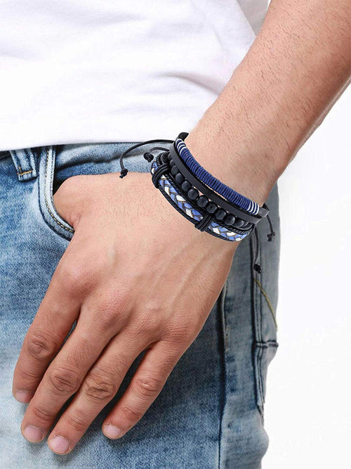 Digital Dress Room Digital Dress Room Fashion Genuine Leather Bracelet Black White Blue Wraps Casual Skin Friendly Bracelets for Men Boys Multi-strand Friendship Bracelets Cuff Casual Party Wear (Set of 3) Size 7.5 Inches
