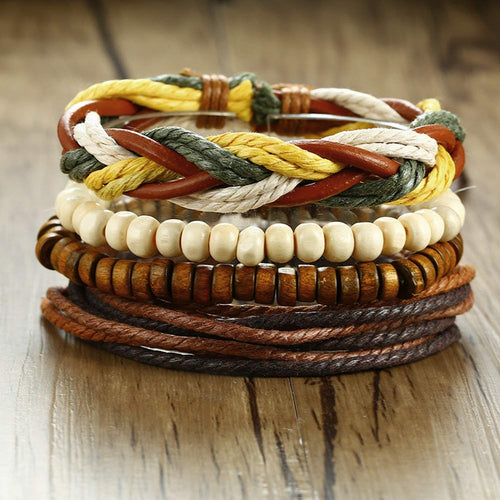Digital Dress Room Digital Dress Room Fashion Genuine Leather Bracelet Rakhi Multi-color Wraps Casual Skin Friendly Bracelets for Men Boys Multi-strand Friendship Bracelets Cuff Casual Party Wear (Set of 4) Size 7.5 Inches