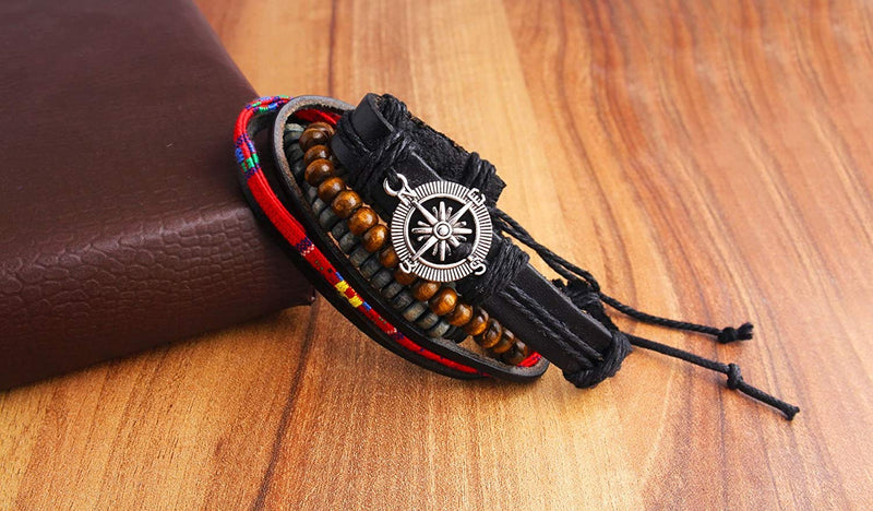 Digital Dress Room Digital Dress Room Fashion Genuine Leather Bracelet Multi-color Wraps Casual Skin Friendly Bracelets for Men Boys Multi-strand Friendship Bracelets Cuff Casual Party Wear (Set of 4) Size 7.5 Inches