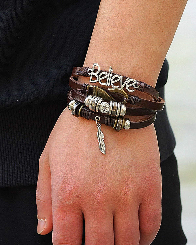 Digital Dress Room Digital Dress Room Fashion Genuine Leather Bracelet Silver Brown Wraps Casual Skin Friendly Bracelets for Men Boys Multi-strand Friendship Bracelets Cuff Casual Party Wear Size 7.5 Inches
