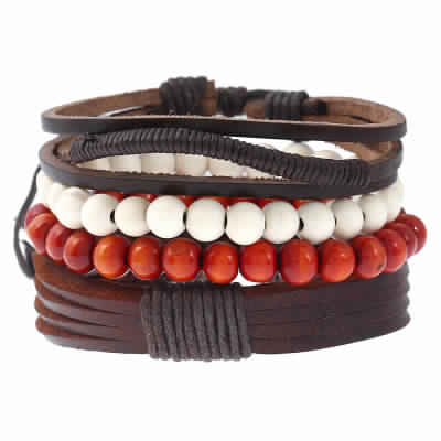Digital Dress Room Fashion Genuine Leather Bracelet Black Brown White Wraps Casual Skin Friendly Bracelets for Men Boys Multi-strand Friendship Bracelets Cuff Casual Party Wear (Set of 4) Size 7.5 Inches
