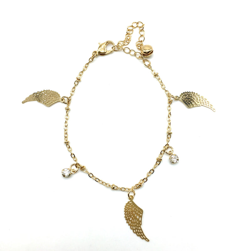 Gold Angel Feather Bracelet
