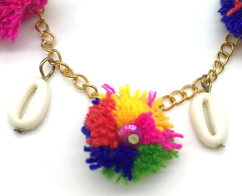 Digital Dress Room Multi Color Gold Pom Pom Bracelets