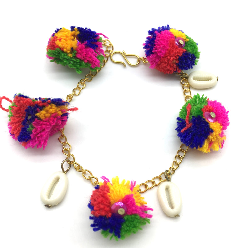Multi Color Gold Pom Pom Bracelets
