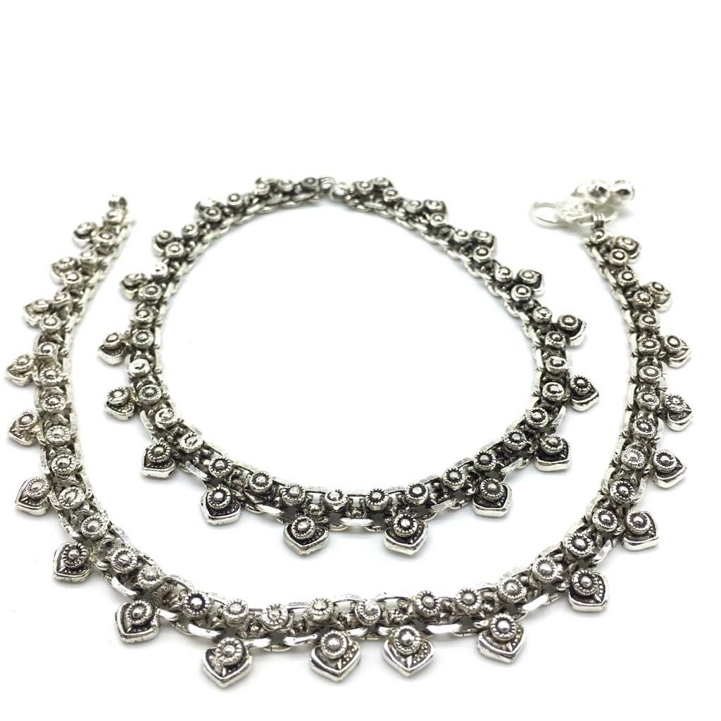 Silver Plated  Payal Anklet Comes Pair