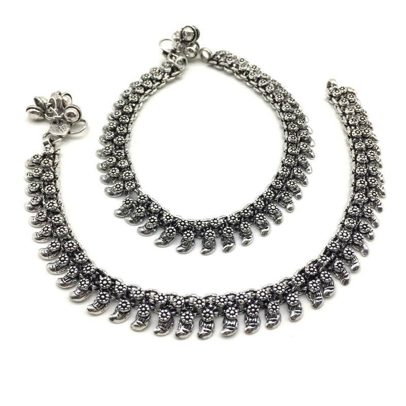 Silver Plated Oxidised German Anklet - DigitalDressRoom