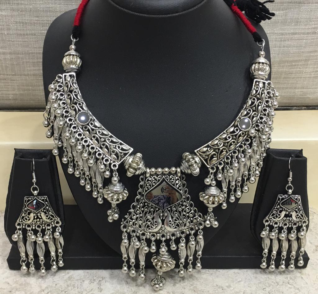 Antique Silver Plated Mirror Pendant with Ghungroo Thread Necklace Earring Set - DigitalDressRoom