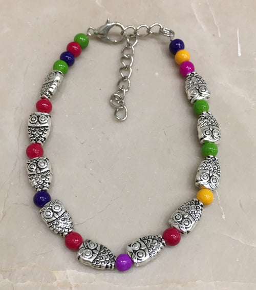 Digital Dress Room Silver Owl Bracelet with Beads