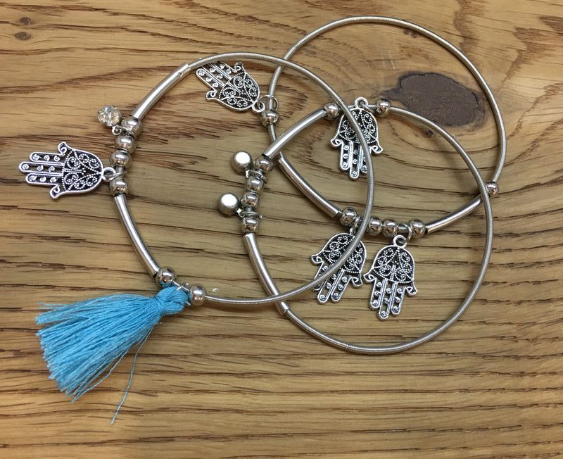 3pcs/set Silver Hamsa Charms and Blue Tassel Bracelets