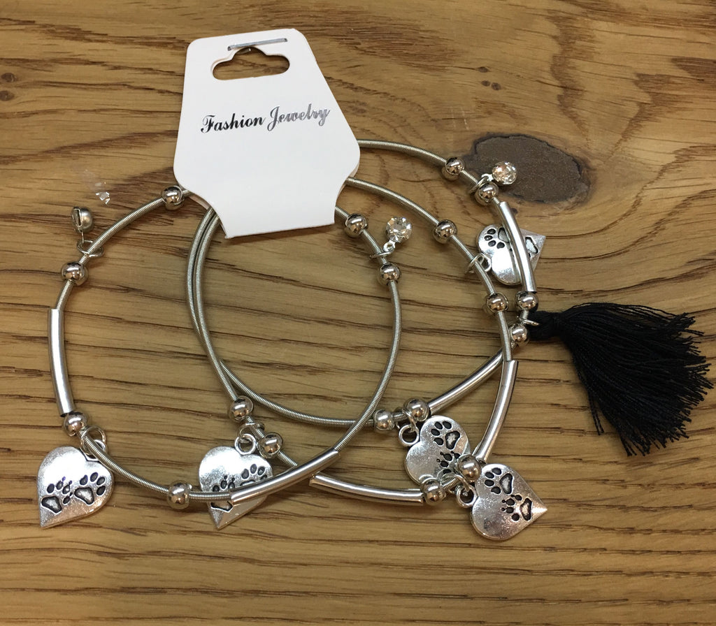 3pcs/set Silver Heart Charms and Black Tassel Bracelets