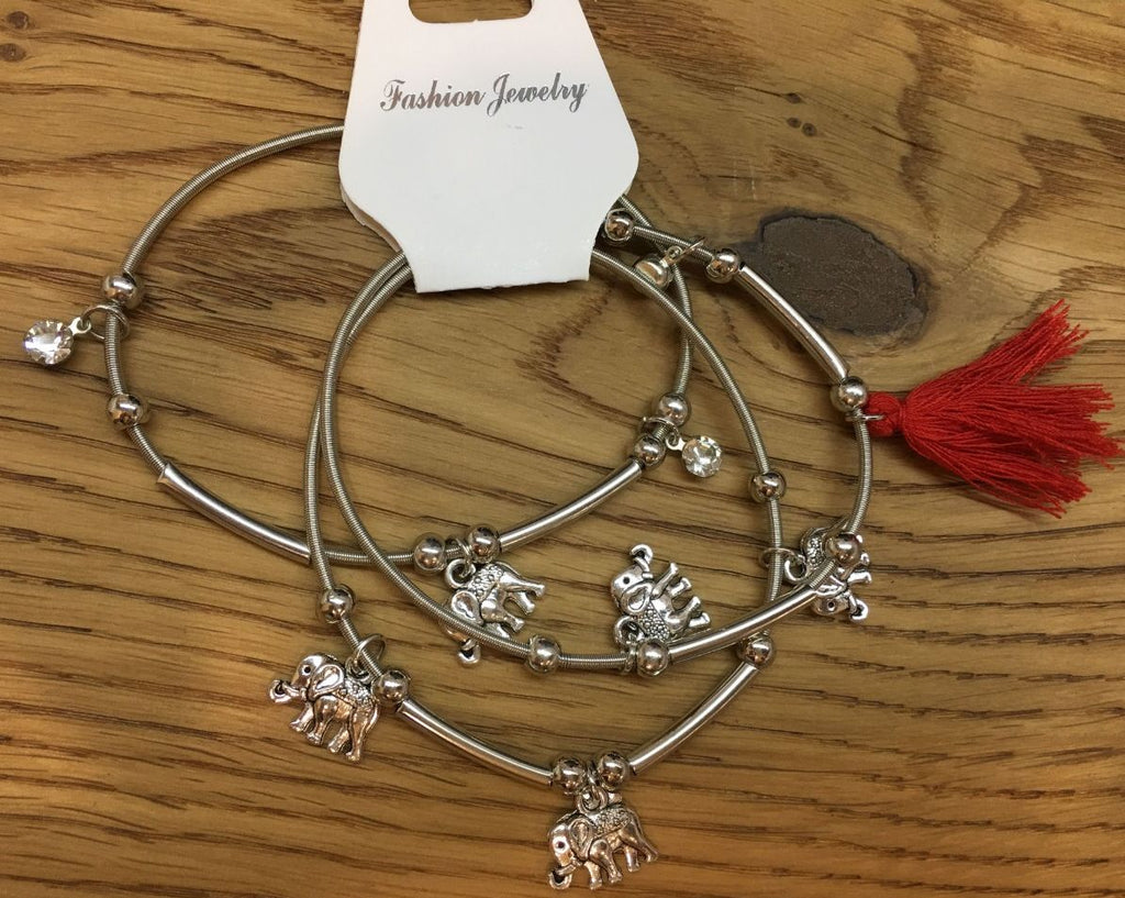 3pcs/set Silver Elephant Charms and Red Tassel Bracelets