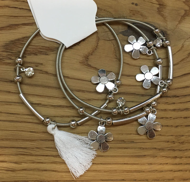3pcs/set Silver Flower Charms and White Tassel Bracelets