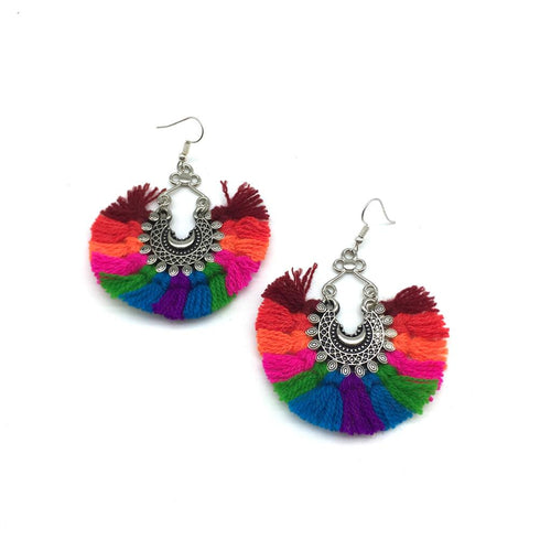 Digital Dress Room Oxidized Afghani Bohemian Multicolor Tassel Dangle Chand Earrings