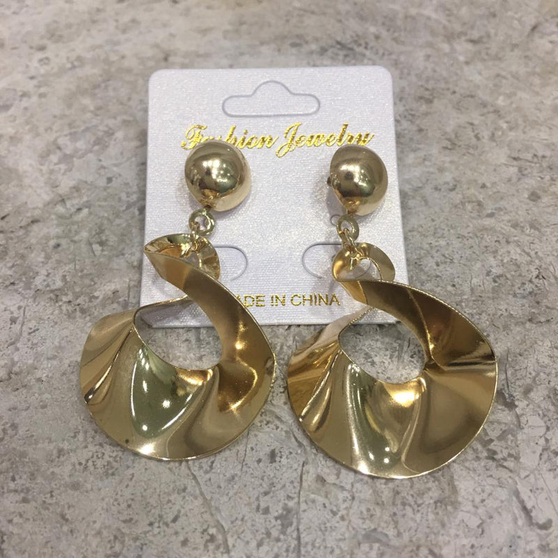 Gold-Plated Alloy Light Weight Dangle Drop Stud Earrings