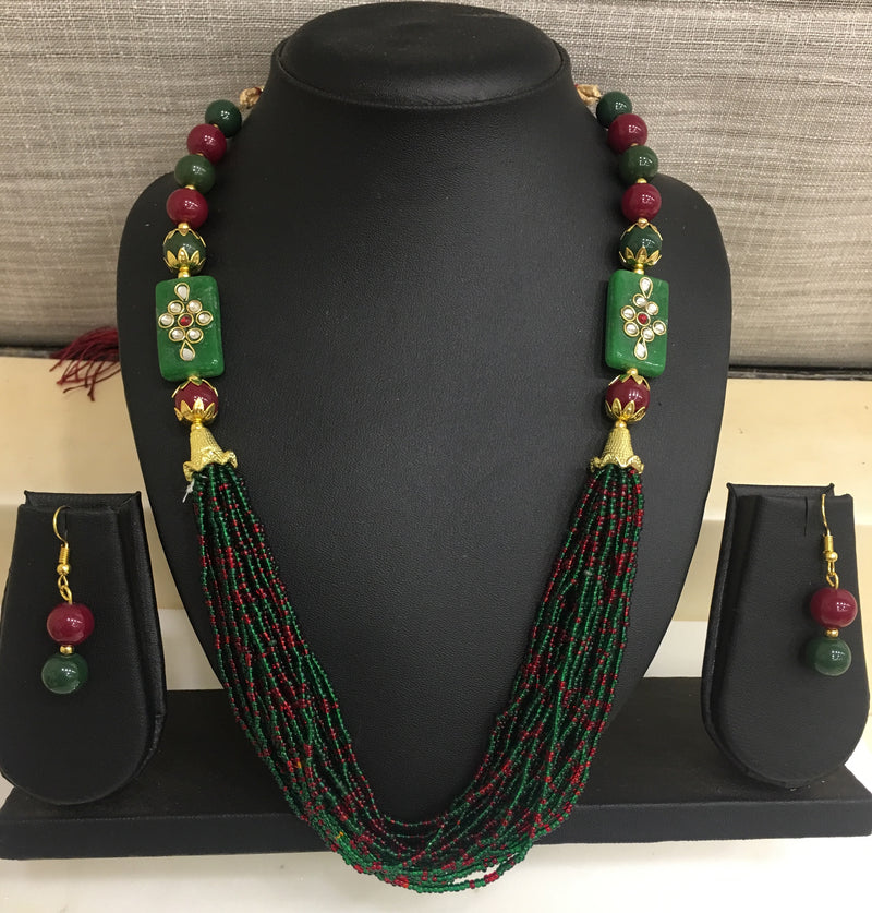 Kundan Polki Pendent with Pearls and Beads Necklace Set - DigitalDressRoom