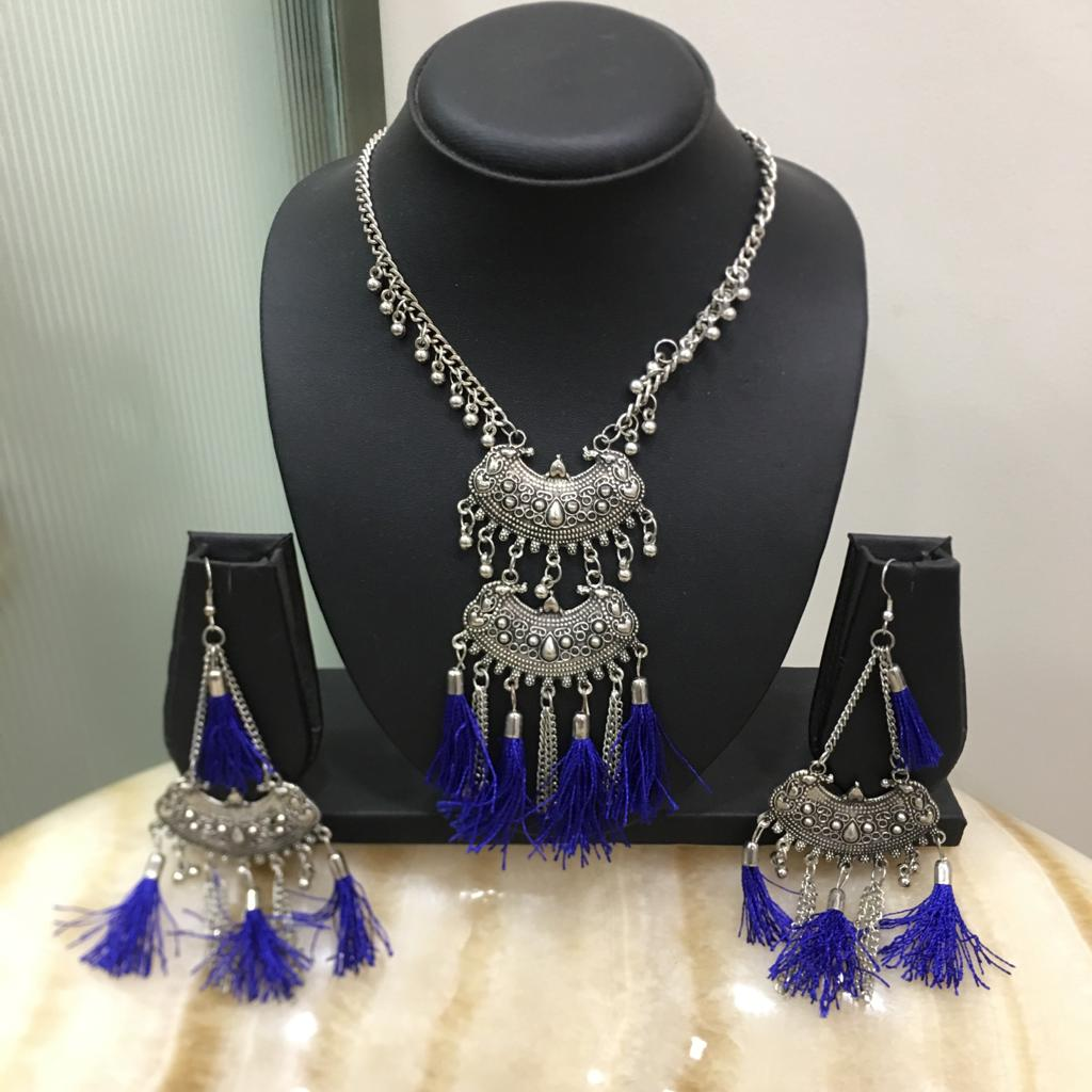 Antique Silver Plated Ghungroo with Blue Tassels Necklace Earring Set - DigitalDressRoom