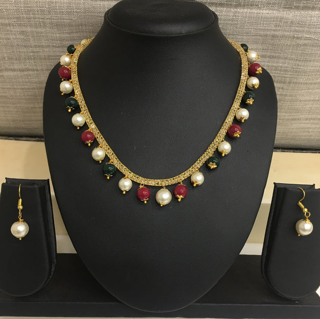 Digital Dress Room Gold White Pearls Necklace Earring Set for Women Girls Costume Fashion Artifical Imitation Jewellery