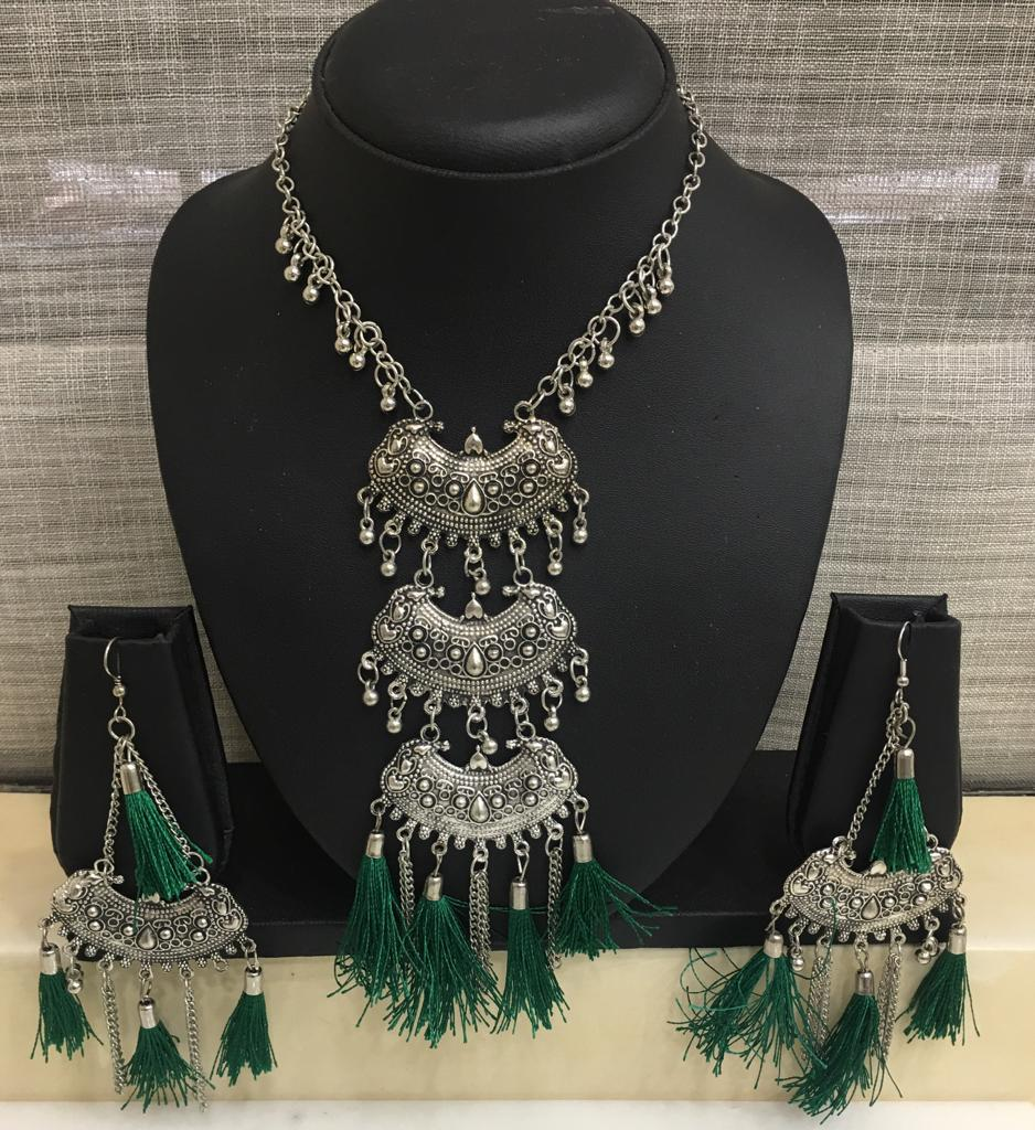 Antique Silver Plated Pendant Ghungroo with Green Tassels Necklace Earring Set - DigitalDressRoom