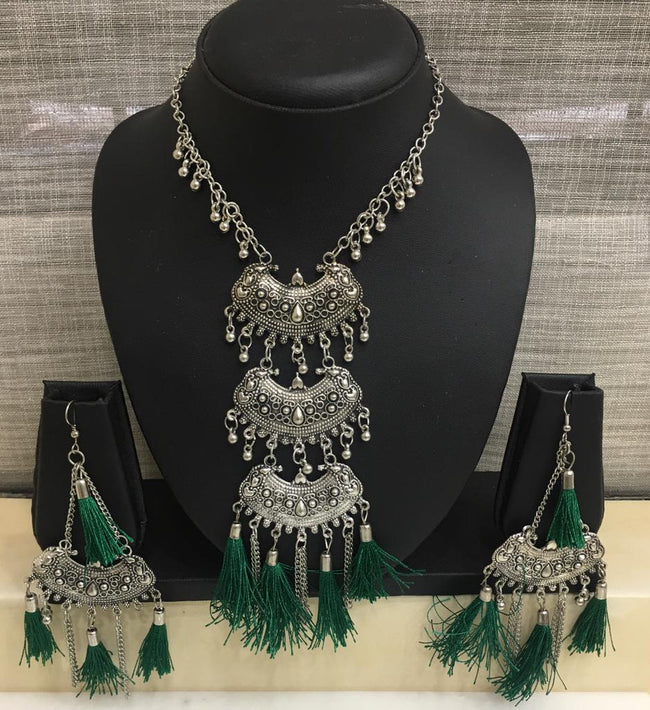 Digital Dress Room Antique Silver Plated Pendant Ghungroo with Green Tassels Necklace Earring Set