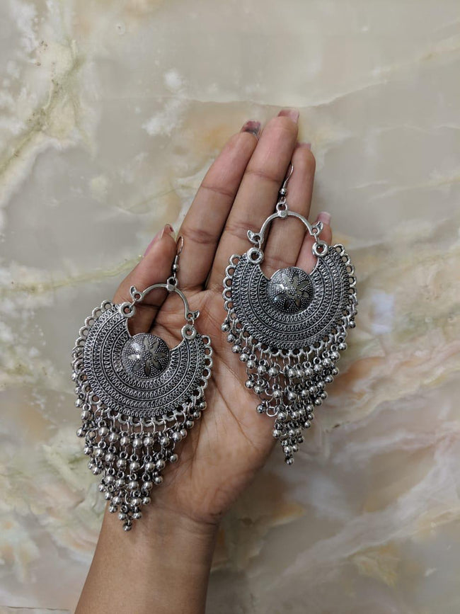 Navratri Earring Traditional Ethnic lightweight Bohemian Antique Metal Kashmir Tribal German Oxidized Afghani Silver Chand Earring Ghungroo Chandbali Jhumki Hook Earrings for Women