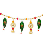 Digital Dress Room Toran For Door Hangings Diwali Decoration Fancy Golden Ganesh ji Leaf Pearl with Pom Pom Balls