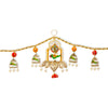 Digital Dress Room Toran For Door Hangings Diwali Decoration Golden Pearl, Ganesha & Parrots (Orange & Red)