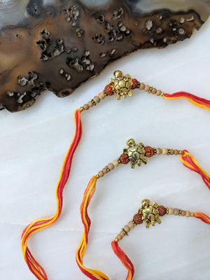 (Set of 3) Designer Rakhi for Men Gold Plated Rudraksha Tulsi Beads Multicolor Thread Rakhi
