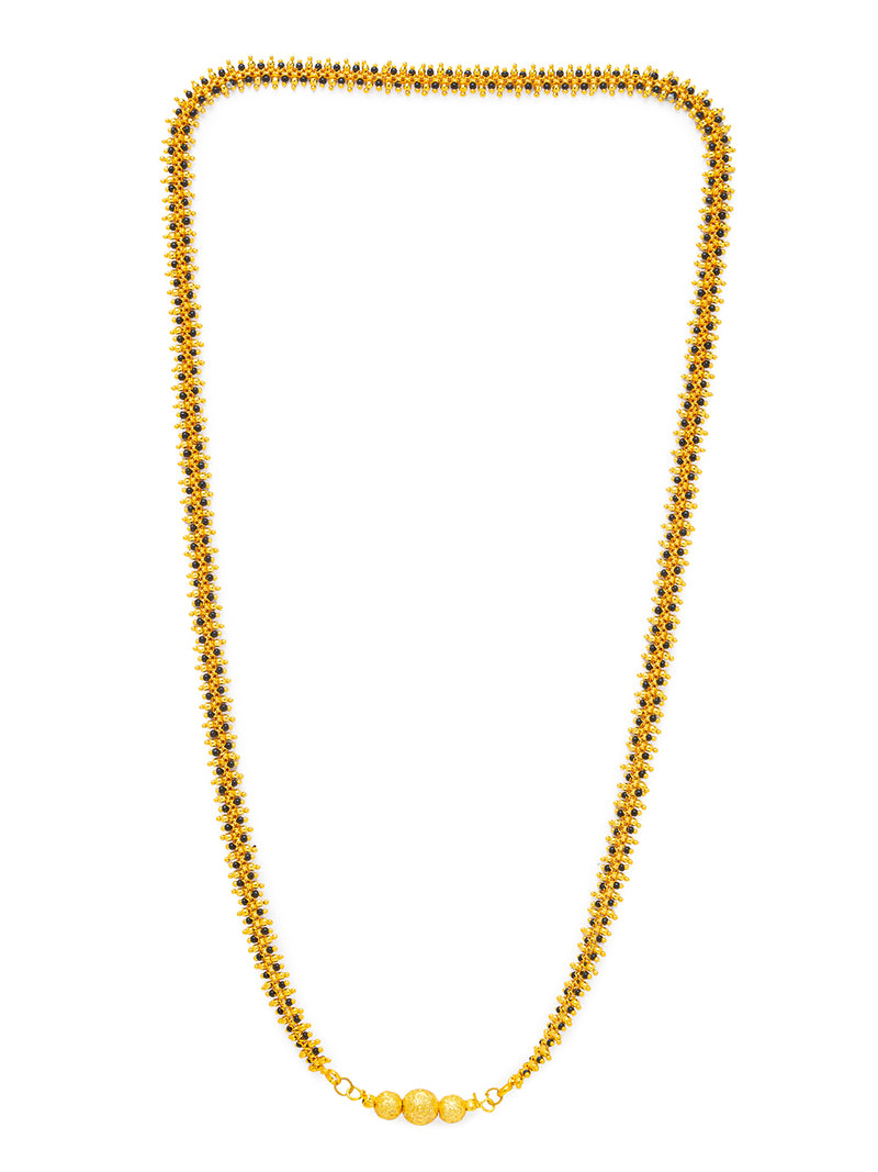 Digital Dress Room Digital Dress Room One Gram Gold Plated Long Mangalsutra मंगलसूत्र Latest Design Tanmaniya/Long Gold Chain/Black Beads New Mangalsutra Designs For Women (28 Inches)