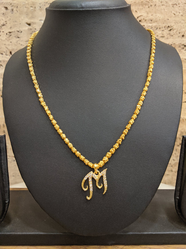 Alphabet M Letter Necklace Micron One Gram Gold Long Gold Chain CZ Pendant Design (27 Inches)