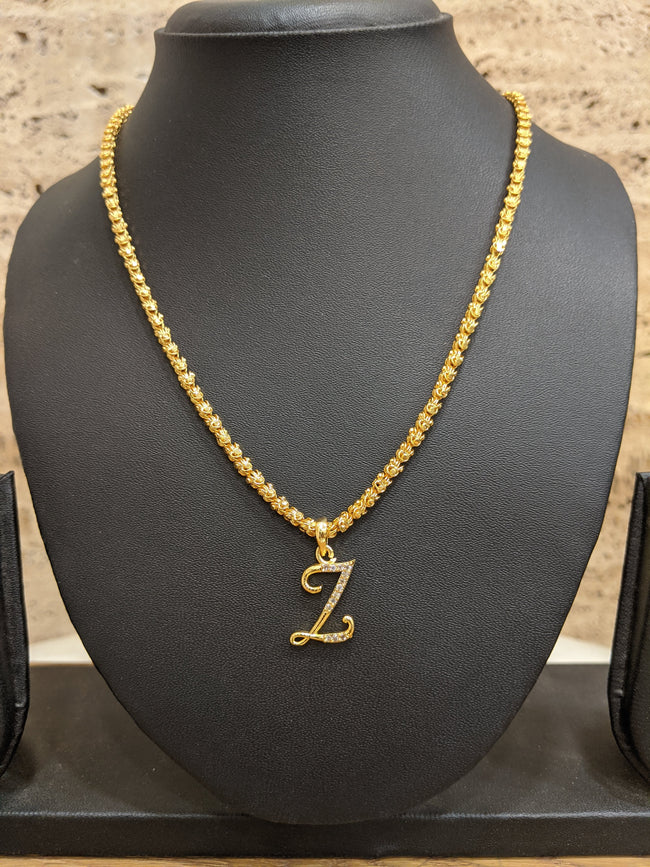 Alphabet Z Letter Necklace Micron One Gram Gold Long Gold Chain CZ Pendant Design (27 Inches)