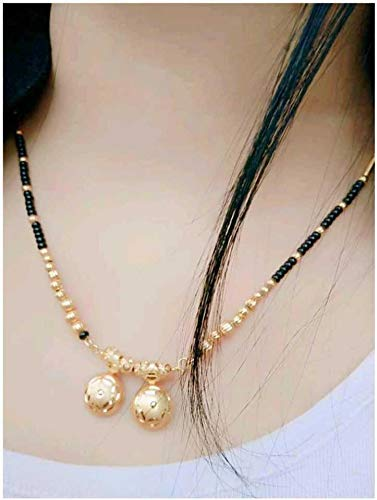 Digital Dress Room Short Mangalsutra Designs Gold Plated Latest 2 Vati Pendent Black Gold Beads Mangalsutra