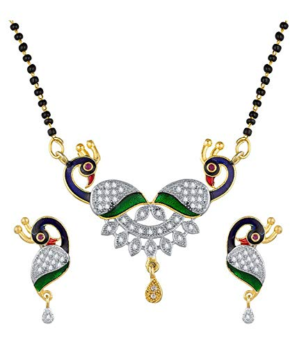 Digital Dress Room Short Mangalsutra Designs Gold Plated Latest American Diamond Peacock Pendant Mangalsutra & Earrings